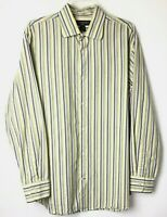 Banana Republic Mens Large Green/Brown Striped Long Sleeve Button Front Shirt