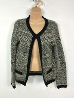 WOMENS NEW LOOK BLACK & WHITE KNITTED OPEN FRONTED SMART CARDIGAN SIZE UK 12