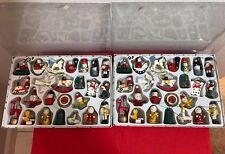 """LOT OF 48 WOODEN WOOD MINIATURE CHRISTMAS TREE ORNAMENTS 2.5"""" NEW!"""
