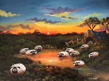 MAL.BURTON ORIGINAL OIL PAINTING  CRAZY SHEEP SUNSET  NORTHERN ART DIRECT  NEW