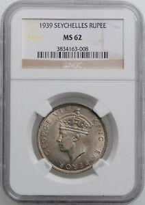 "Seychelles 1 rupee 1939, NGC MS62, ""King George VI (1939 - 1952)"""