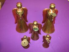 Angel Candle Stick Holder Set of 5 Copper & Brass Tone Color Small to Large