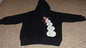 KIDS GYMBOREE BLACK SNOWMAN LONG SLEEVE HOODIE WINTER SWEATSHIRT SIZE 2T-3T