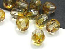 12 Böhmische Glasschliffperlen 10mm Crystal Topaz Lüster Glasperlen #1873