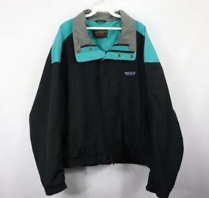 Vtg 90s Eddie Bauer Mens XL Spell Out Color Block Full Zip Windbreaker Jacket