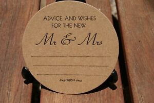 Advice And Wishes for the New Mr & Mrs  WEDDING COASTERS,  in black X 100 Round