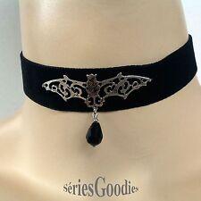 bijoux Gothique Tour de cou  Vampire sur ruban velours + goutte noire en cristal