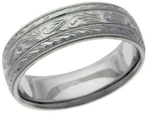 Platinum 14k 10k silver white rose gold wedding band ring scroll design engraved