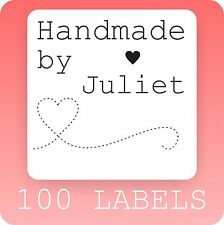 100 HANDMADE BY PERSONALISED STICKERS LABELS STICKY square custom scrapbooking