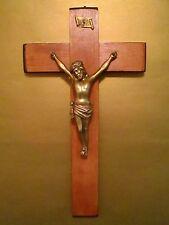 "20"" Antique Altar Wall Hanging WoodCross Metal Corpus Crucifix FRANCE"