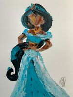 ORIGINAL Abstract Disney Princess Jasmine Aladdin Impasto Art Painting 12x16""