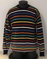 Norm Thompson Portland Oregon Mens Navy Blue Rainbow Striped Knit Sweater Large