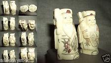2 NAZUKE NETSUKE STATUINA SCULTURA HOLY MAN KIMONO SANTONE OSSO YAK BONE CHINA