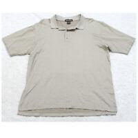 Arnold Palmer Beige Mans Polo Shirt Short Sleeve Cotton Large Men's 3-Button Top