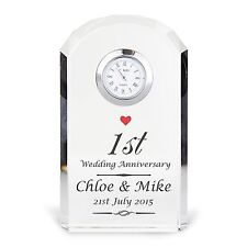 Personalised Crystal Wedding Anniversary Clock Glass 1st Anniversary Gift New