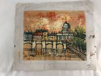 Mid Century Impressionist Original Art Oil Painting Signd Tobey City Architectur