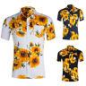 Mens Floral Print T-Shirts Short Sleeve Casual Golf Tees Hawaiian Holiday Tops B