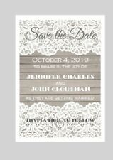 50 Personalized Custom White Lace Wooden Vintage Wedding Save The Date Cards