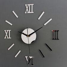 New Modern Large 3D Silver Wall Clock Frameless Watch DIY Home Living Room Decor