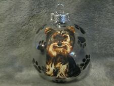 "Hand Made Yorkshire Terrier Dog 3"" Glass Christmas Ornament/Ball"