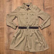 Ralph Lauren Blue Label Girls Belted Chino Shirtdress Size 16