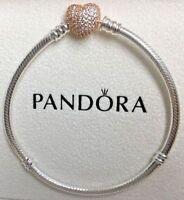 PANDORA Moments Silver Bracelet with Rose Pavé Heart Clasp 586292CZ Genuine New