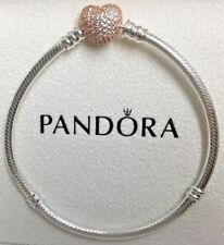 PANDORA Moments Silver Bracelet with Rose Pavé Heart Clasp 586292CZ Genuine New