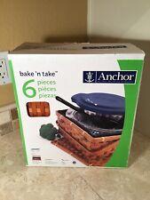 Anchor Hocking 6 Pieces Bake N Take Basket w/ baking dish w/lid & ice pack NIB
