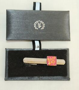 BUGATCHI UOMO Silver Tie Clip Pink & Yellow NEW MSRP $80