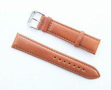 20mm Genuine Leather Padded Dark Tan Light Brown Watch Band - Size Regular