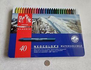 Caran D'ache Neocolor II Watersoluble Wax Pastels, Set of 40, Mint in Box