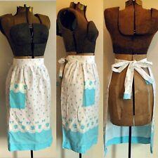 New listing vintage floral skirt apron tie back pocket light blue housewife Vtg Baking Club