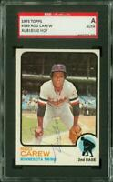SGC Authentic Original Autograph of Rod Carew HOF of the Twins on a 1973 Topps