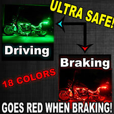 Multi Color SMD RGB LED UnderGlow Lighting Kit For Motorcycle w Brake Feature