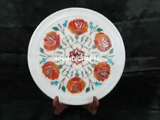 "10"" Round Marble Wall & Serving Plate Marquetry Floral Inlay Art Kitchen Decor"