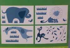 Amy Coe Zoo Baby Wall Decals Blue Elephant Lion Giraffe Monkey Jungle Animal NIP