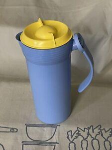 Tupperware Saftkanne Kanne RAR Vintage blau gelb Garten Picknick Top 1,1 Liter