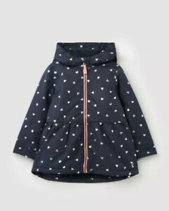 Joules Girls Raindrop Waterfall Raincoat  - Navy Foil Hearts - 7-8. Jacket, Coat