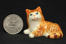 Miniature Ceramic Animals tabby cat Figurine Statue for Decorative Collectibles