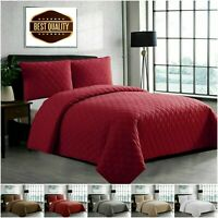 3 Piece Bedding Set Embossed Quilted Bedspread Bed Throw Single Double King Size