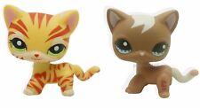 2pcs Littlest Pet Shop RARE Cream & Yellow Orange Cat Green Eyes LPS #1451 #1170
