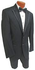 Black Joseph Abboud Tuxedo with Pants Peak Lapels Wedding Prom Mason 37R 31W