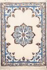 Excellent IVORY Wool/ Silk Nain Geometric Area Rug Hand-knotted Oriental 2'x3'