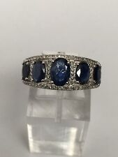 New 10K Yellow Gold Oval Shape Five Stone Sapphire and Diamond Band Ring Size 7
