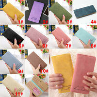 Vintage Women Long Purse Female Slim Wallet Card Holder Bag Matte Leather Wallet
