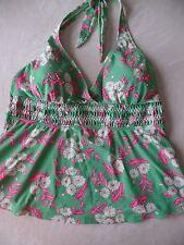 ladies LIZ LANGE MATERNITY TANKINI TOP swimsuit GREEN PINK FLORAL medium 8/10
