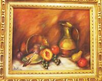 GAYLA ORIGINAL OIL ON CANVAS STILL LIFE PAINTING 20X24 GOLD CARVED WOOD FRAME