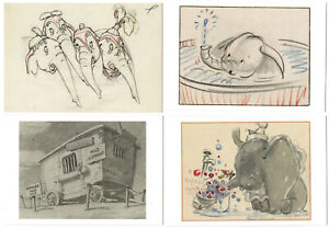 Disney Unused Art Postcards Frameable Set of 4 Dumbo 2014 Group 2