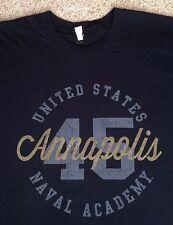 XL  UNITED STATES NAVAL ACADEMY T-SHIRT Navy & METALLIC BRONZE GOLD SHIMMER LOGO