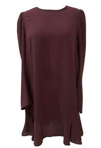 Designer TARA JARMON Burgundy Red Short SHIFT DRESS Long Sleeves Fr 42 UK 12-14